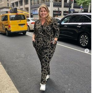 plus size chain print jumpsuit